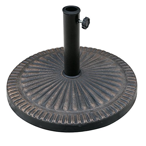 C-Hopetree Patio Market Umbrella Base Heavy-Duty Outdoor Stand 31lbs Round Bronze