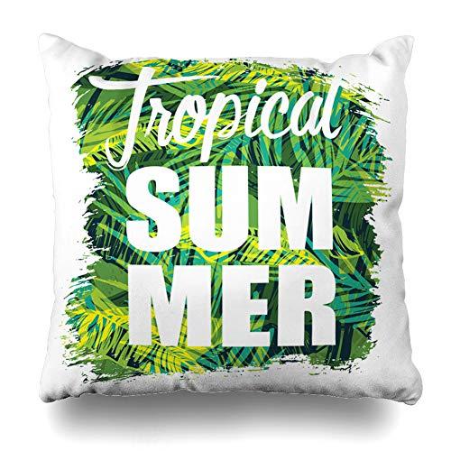 Suesoso Decorative Pillows Case 18 X 18 inch Tee Tropical Beach Summer Slogan Graphic Throw Pillowcover Cushion Decorative Home Decor Nice Gift Garden Sofa Bed Car -
