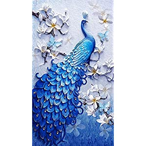 Diamond Painting Full Square 5D DIY Drill Peacock Lucky Bird DP Rhinestone Embroidery Arts Craft Paint-by-Number Kits Cross Stitch for Home Decoration 12.5X21inch (Peacock)