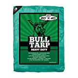 Bull Tarp - Super Heavy Duty, Green/Black, Waterproof, Tent Shelter, Tarpaulin, Fire Wood Cover, Multi-Purpose Heavy Duty Poly Tarp, Reinforced Grommets Every 18'' (20X40)