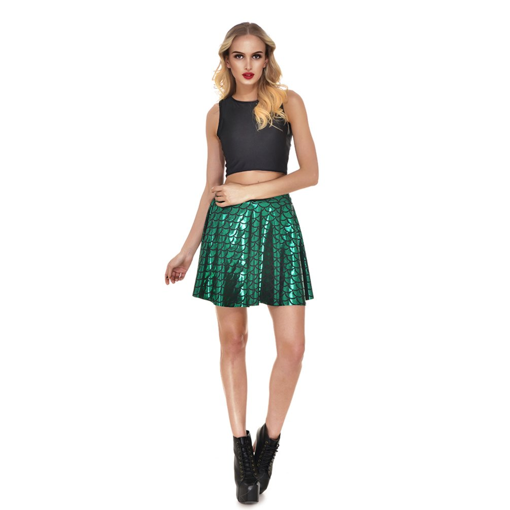 AISKLY Fish Scales Skirts Women Casual Cute Above Knee Mini Flared Skater skirt, YL-2001, Large by AISKLY (Image #3)