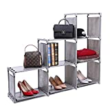 ZOEMO Ladder-Shaped Storage Closet Cube, 3-tier 6-cell Organizer Shelf Bookcase