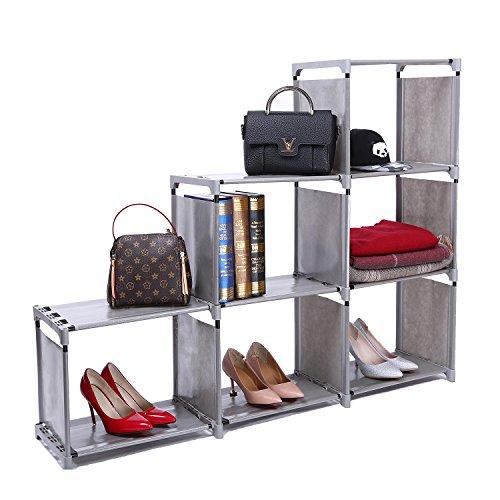 ZOEMO Ladder-Shaped Storage Closet Cube, 3-tier 6-cell Organizer Shelf Bookcase by ZOEMO