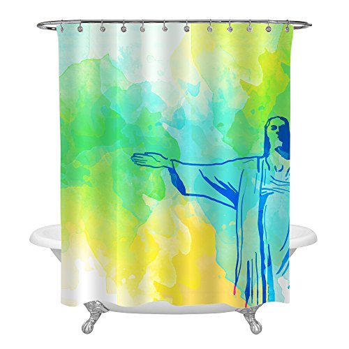 MitoVilla New Seven Wonders of the World Home Decor, Brazil Rio De Janeiro Christ the Redeemer Statue Cristo Redentor Watercolor Religious Shower Curtain, Yellow and Green, 72 x 78 Inches Long (Statue Redeemer Christ Rio)