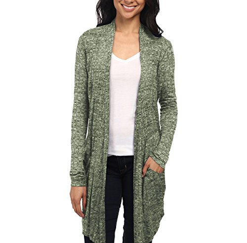 Womens Casual Open Front Drape Cardigan KSKW31127 Olive XLarge