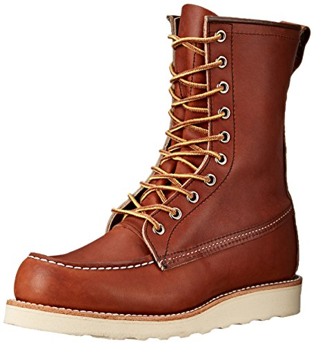 Wing Moc Mens Red Boots Marrone Leather Toe 8'' Classic 8830 fp414wqA