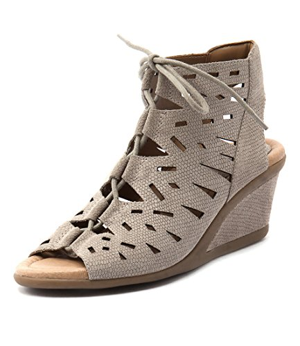 Summer Heels Black Daylily Taupe Medium Shoes Suede EARTH Wedges Womens ROvATRY