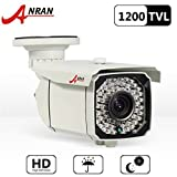 ANRAN 1200TVL SONY CMOS Sensor Varifocal Zoom 2.8-12mm High Resolution 66IR LEDs Color Day Night Vision Infrared Security Waterproof Outdoor/ Indoor Bullet Surveillance CCTV Security Camera with power supply Adapter For Sale