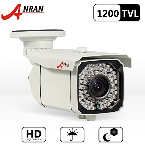 ANRAN 1200TVL SONY CMOS Sensor Varifocal Zoom 2.8-12mm High Resolution 66IR LEDs Color Day Night Vision Infrared Security Waterproof Outdoor/ Indoor Bullet Surveillance CCTV Security Camera with power supply Adapter