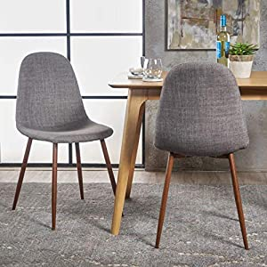 Christopher Knight Home 301730 Raina Mid-Century Modern Fabric Dining Chairs with Wood Finished Metal Legs, 2-Pcs Set…