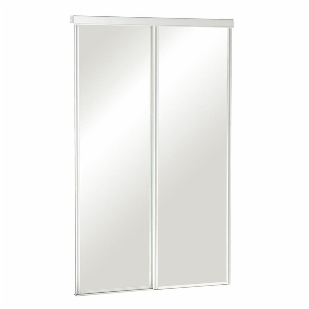 72 in. x 80-1/2 in. Sliding Mirror Euroframe White Frame