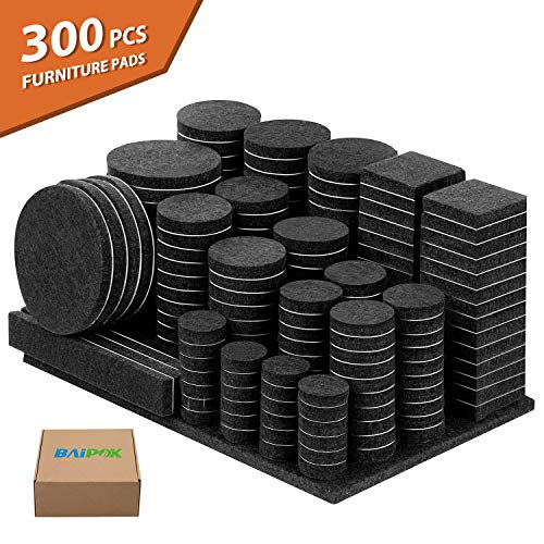 (Furniture Pads 300 Pieces Felt Furniture Pads Premium Huge Pack, 5mm Thick Self Adhesive Anti Scratch Floor Protectors for Desk Chair Legs with Case and 60 Rubber Bumpers for Hardwood)