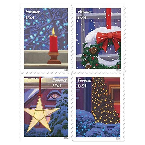 USPS Holiday Windows Forever Stamps Book of 20