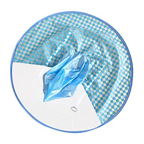 Sameno Cute Rain Coat UFO Cute Cartoon Duck Yellow Baby Children Umbrella Hat Magical Hands Free Raincoat (Blue, M)