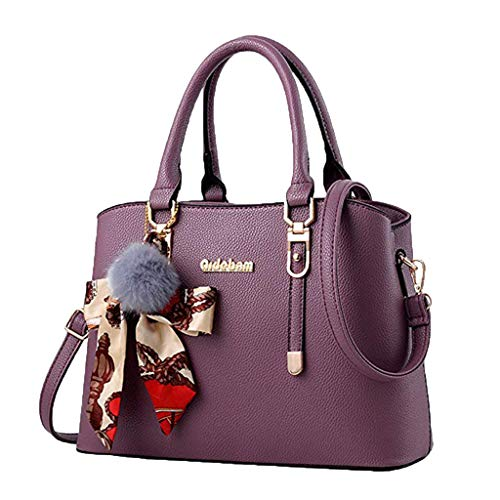 Londony New Bag 2019, Women's Top Handle Satchel Handbags Faux Leather Tote Shoulder Bag Crossbody Purse Purple