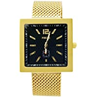 Square Boy Fashion Gold Wristwatch,Stainless Steel Men's Quartz Watches,50M Waterproof,Black Face Gold Indexs with Light