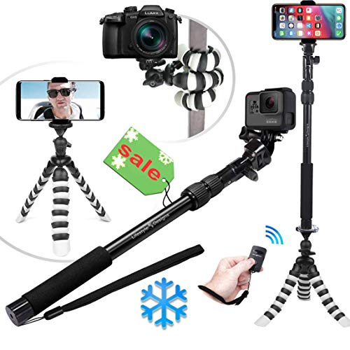 NEW HD Flexible Tripod & Selfie Stick 6-in-1 Kit w/ Bluetooth Remote – Best Video & Vlog Stand for Any...