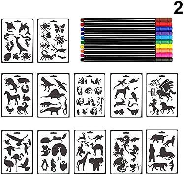 Set de pl/ástico de los Animales Que pintan la Plantilla para los /álbumes de DIY Que pintan el Arte Domeilleur Ni/ños 12Pcs