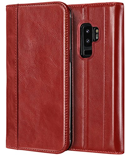 ProCase Galaxy S9 Plus Genuine Leather Case, Vintage Wallet Folding Flip Case with Kickstand, Card Holder, Magnetic Closure Protective Cover for Samsung Galaxy S9+ 2018 Release -Red
