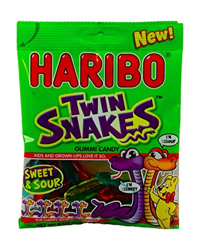 Haribo Twin Snakes Sweet & Sour Gummy Candy- 4oz Bag