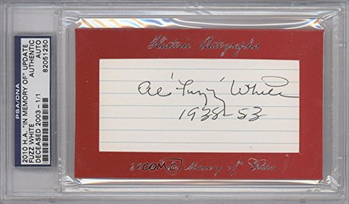 - Fuzz White PSA/DNA Certified Auto AUTHENTICATED AUTHENTIC #1/1 (Baseball Card) 2010 Historic Autographs Cut Autographs