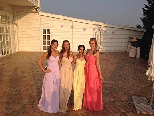 Schulterfrei Lila2 Hochzeit Lang Empire HUINI Kleider Ballkleider Abendkleider Brautjungfernkleider Trägerlos Chiffon Falten OqUxFYf