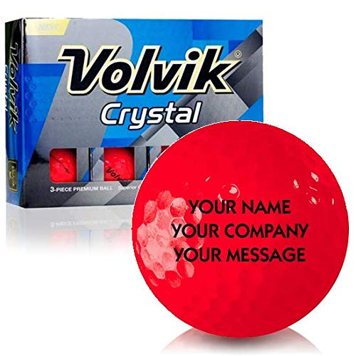 (Volvik Crystal Ruby Red Personalized Golf Balls)