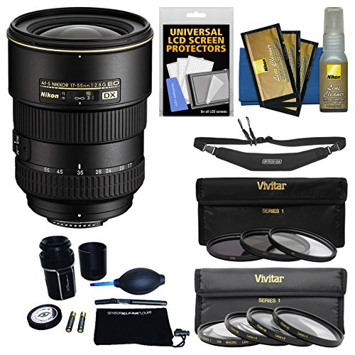 Nikon 17-55mm f/2.8 G DX AF-S ED-IF Zoom-Nikkor Lens with 3 UV/CPL/ND8 & 4 Macro Filter Set + Sling Strap Kit for D3200, D3300, D5300, D5500, D7100, D7200 Camera