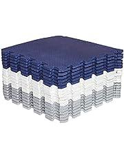 Mocosy 30 cm x 30 cm (1 x 1 tum) sammankopplade golvmattor skyddande golvmattor|Pusselmatta|Mjuk skummatta | lekmatta | gymmatta (blå vit grå 18 delar)