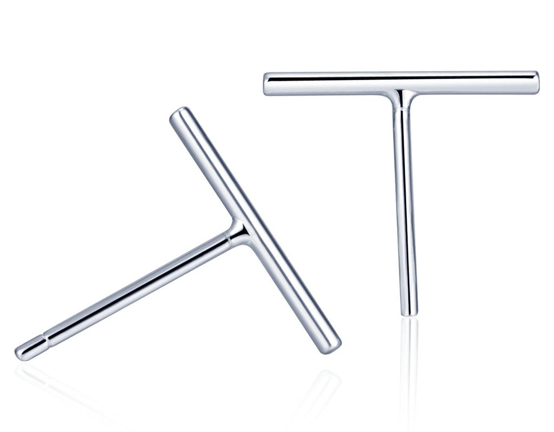 Minimalist Bar Earrings 925 Sterling Silver Simple Line Stick Simplify Studs Best Present for Women/Girls