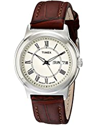 Timex Mens T2E581 Elevated Classics Silver-Tone Watch with Brown Leather Band