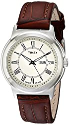 Timex Men's T2E581 Elevated Classics Silver-Tone Watch with Brown Leather Band