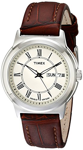 Timex Men's T2E581 Elevated Classics Silver-Tone Watch with Brown Leather (Roman Silver Bands)