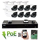 GW Security 8 Channel 4K NVR HD 1920P H.265 IP PoE Security Camera System with 8 Outdoor/Indoor 2.8-12mm Varifocal Zoom 5.0 Megapixel 1920P Cameras, QR Code Easy Setup, Free Remote View