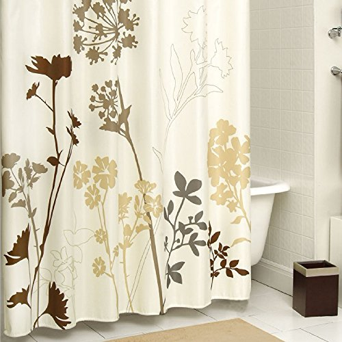 DS BATH Silhouette Flower Polyester Fabric Shower Curtain,Plants Shower Curtains for Bathroom,Floral Bathroom Curtains,Waterproof Shower Curtain,72
