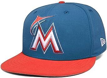best sale cost charm popular brand Amazon.com: Miami Marlins 2 Tone Basic Blue Turk/Glaze Red 59FIFTY ...