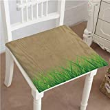 Mikihome Memory Foam Chair Pads Antique Old Planks American Style Western Rustic Wooden with Thick Growth of Grass Cushion Perfect Indoor/Outdoor 28''x28''x2pcs