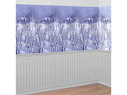Wonderland Roll Winter Room (Christmas Decoration Winter Wonderland Wall Scene Setter | Plastic)