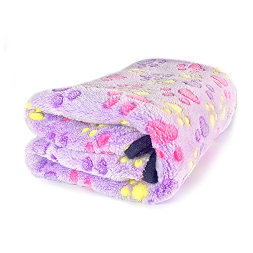 Soft Blanket Coral Fleece Warm Bed Mat Paw Print For Small Pet -Kailian®