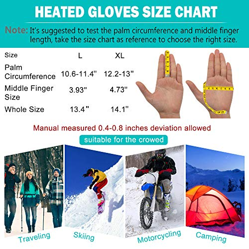 Heated Gloves for Men Women Electric Gloves Battery Heating Gloves Rechargeable (Black-7.4V, L)