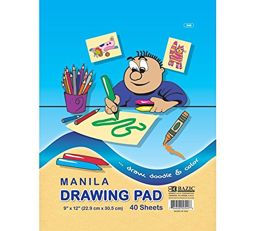 BAZIC 40 Ct. 9'' X 12'' Manila Drawing Pad, Case Pack 48 by Bazic
