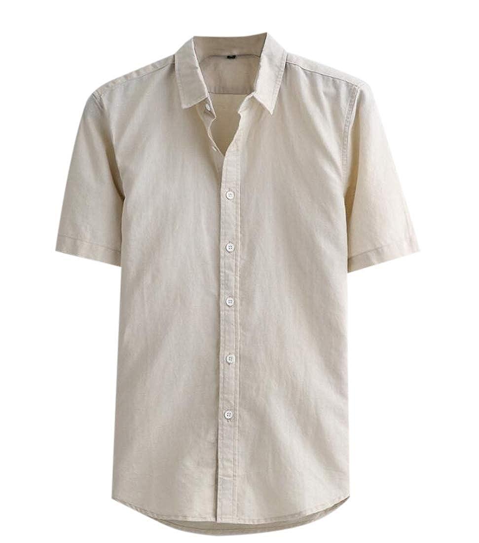 heymoney Mens Linen Cotton Short Sleeve Button Down Shirts Regular Fit Casual Beach Shirt