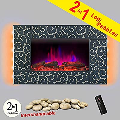 "AKDY 36"" Tempered Glass Log Pebbles 2-in-1 Interchangeable Wall Mount 2 Setting Adjustable 1500W Backlight Electric Heater Stove Fireplace"