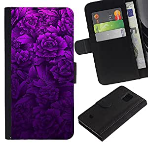 All Phone Most Case / Oferta Especial Cáscara Funda de cuero Monedero Cubierta de proteccion Caso / Wallet Case for Samsung Galaxy S5 Mini, SM-G800 // Purple Floral Spring Lilac Petal Nature