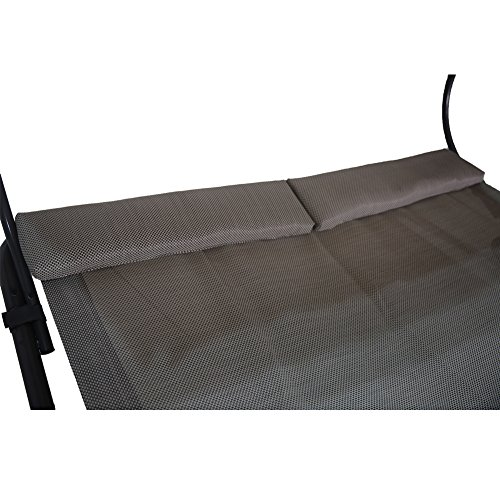 Abba Patio Outdoor Portable Double Chaise Lounge Hammock Bed with Sun Shade and Wheels