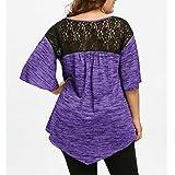 Women Blouse Plus Size, Anxinke Casual Criss Cross V Neck Irregular Hem Lace Splice Short Sleeve T Shirts Top (Purple, 5XL)