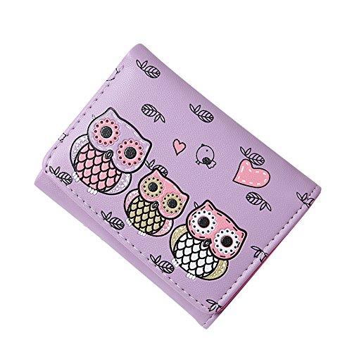 Damen Leder Brieftasche Geldbörse Handtasche Öl Muster Lange Geldbörsen Frauen Kupplungshalter Kreditkarten Reißverschluss Geldbeutel (Langer Typ Schwarz) Kurzer Typ Violett