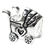 Queenberry Sterling Silver Baby Carriage with heart European Style Bead Charm