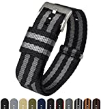 BARTON Jetson NATO Style Watch Strap - 18mm 20mm 22mm or 24mm - Black/Grey (Bond) 20mm Nylon Watch Band