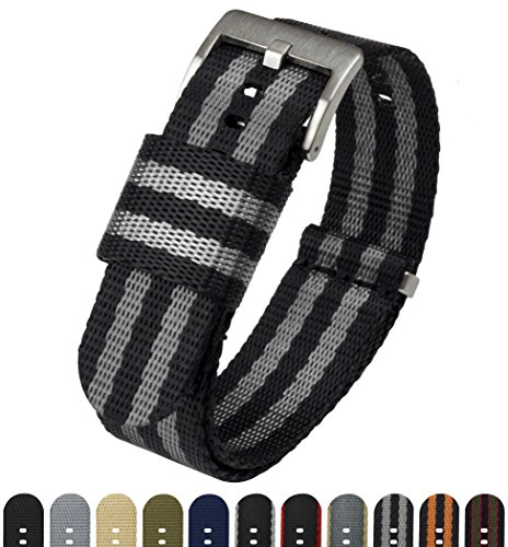 BARTON Jetson NATO Style Watch Strap - 18mm 20mm 22mm or 24mm - Black/Grey (Bond) 20mm Nylon Watch Band by Barton Watch Bands